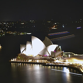 The Opera house comes from Danish design. by Benjamin Salazar - Buildings & Architecture Public & Historical ( lights, australia, night, opera house, sydney,  )