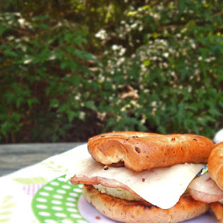 Garden Vegetable Breakfast Bagels with Cheese and Bacon