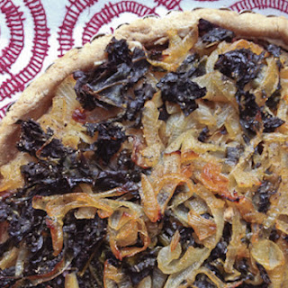 Caramelized Onion Tart with Greens and Cashew Cream