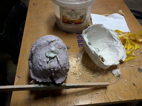 Photo: The plaster shell is removed, revealing the alginate that still covers the finished casting. While it was curing on my face, this alginate looked and felt just like blueberry yogurt.