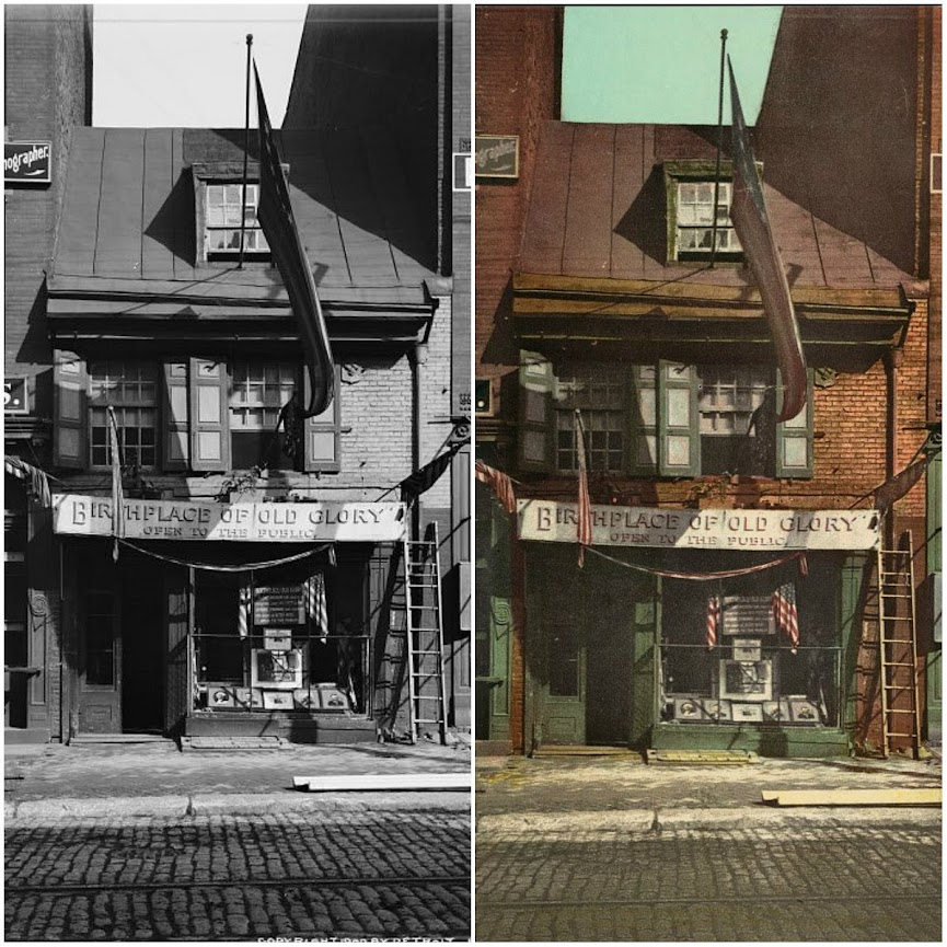 Betsy Ross House, Philadelphia - before and after applying Photochrom