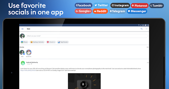Maki Facebook, Twitter & more socials in one app 9
