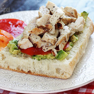 Grilled Chicken Sandwich with Avocado and Tomato.