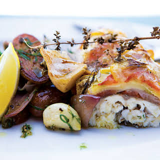 Roasted Sea Bass with Summer Squash.
