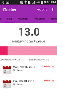leave tracker apps on google play