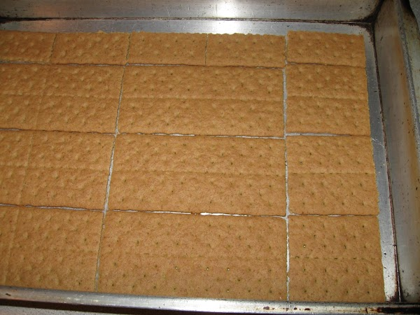 Line a 9x13 casserole dish with a layer of graham crackers