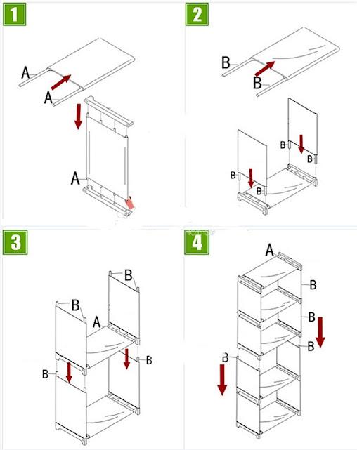 Kệ để sách lắp ghép 4 tầng tiện dụng