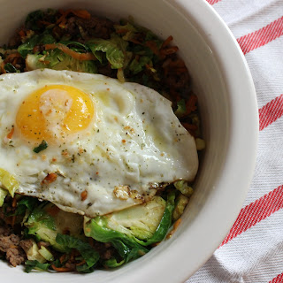 Beef + Brussels Sprout Breakfast Bowl — Gluten-free, Paleo, and Whole30 compliant.
