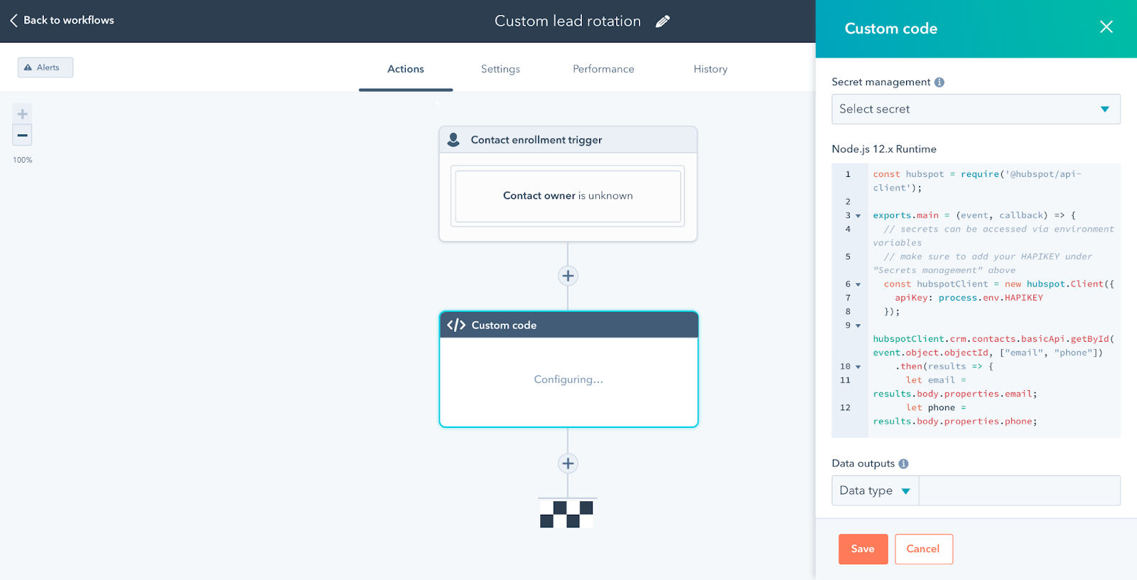 Workflow builder with a custom code insert