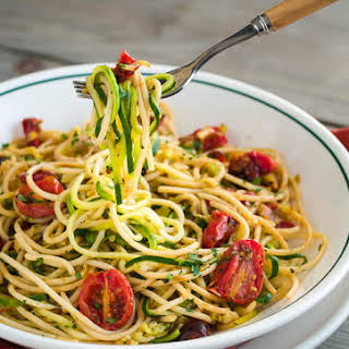 Zucchini Noodles with Pasta and Roasted Tomatoes.