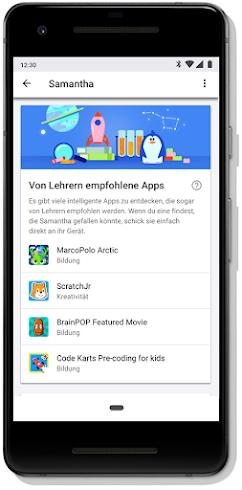 Display eines Mobilgeräts, auf dem von Lehrern empfohlene Apps aufgelistet werden