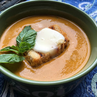 Roasted Yellow Tomato Soup with Grilled Cheese Croutons