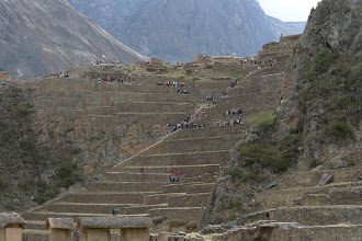 Photo: Ollantaytambo. The terrace fields of this megalithic city rise from the valley floor where even some of the buildings can be found. Much different than the more remote other 2 large cities Pisac and Machu Picchu.