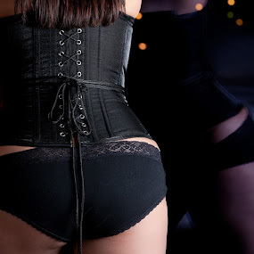 REFLECTION by Erin Watson - People Body Parts ( flash, laced, reflection, bed, boudoir, behind, panties, back, ass, pwcflashes, city, sexy, window, female, erin watson photography, woman, corset, hot, butt, night, erin watson, tied, black )
