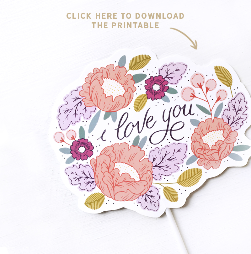 Paper Raven Co. Mother's Day Cake Topper Free Printable