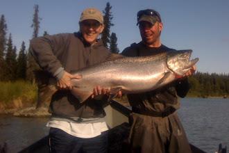 Photo: Nick Ohlrich of Alaska Drift Away Fishing with a 40 plus pound Kasilof river King salmon.