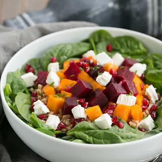 Roasted Fall Vegetable Salad with Maple Balsamic Vinaigrette.