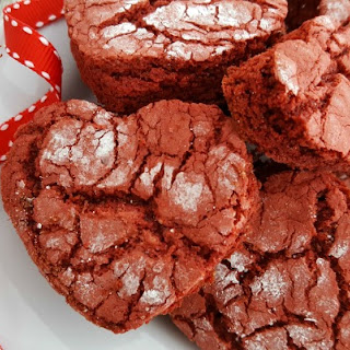 Cake Mix Red Velvet Heart Crinkle Cookies.