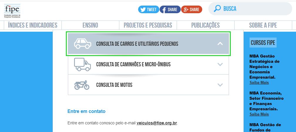 escolha uma categoria de veículo para consultar o preço de um carro na Tabela FIPE