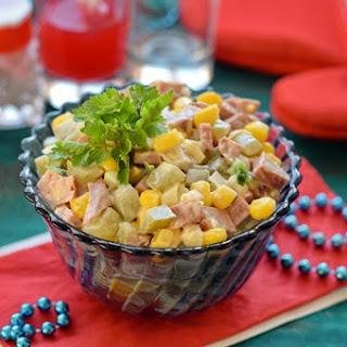 Salad With Smoked Sausage And Corn.