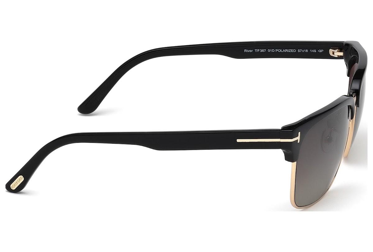 9ef2c107b0 Buy Tom Ford River FT0367 C57 01D (shiny black   smoke polarized ...