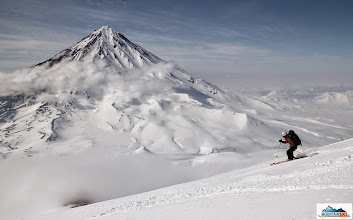 Photo: Skier: Katka, location: slopes of Avachinsky; Koryaksky in the background