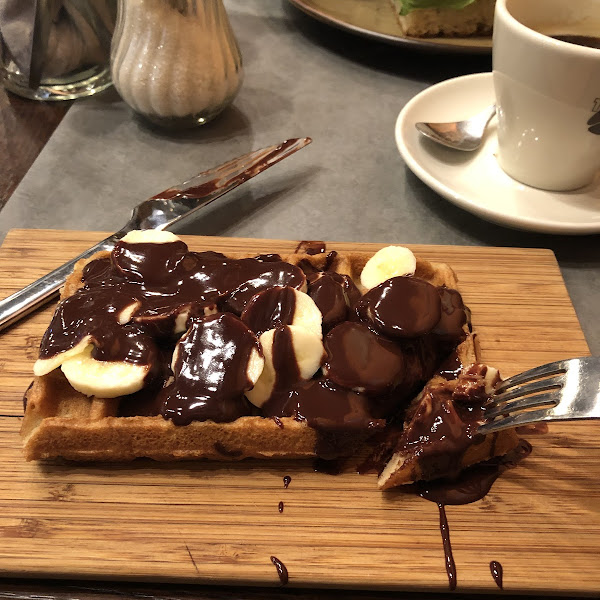 Gluten free waffle (all of the waffles are gluten free) with chocolate and banana!
