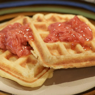 Waffles with Strawberry Sauce.