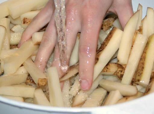 Clean and slice potatoes into fries. I have a french fry slicer. Any way...
