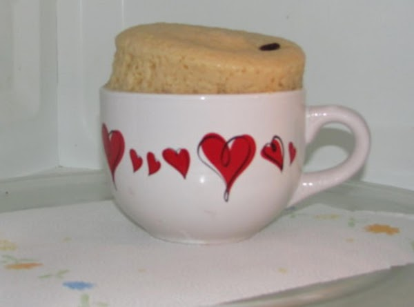 Cake will rise over top of mug