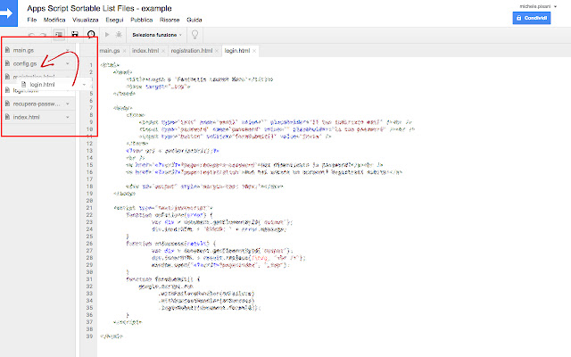 Apps Script Sortable List Files