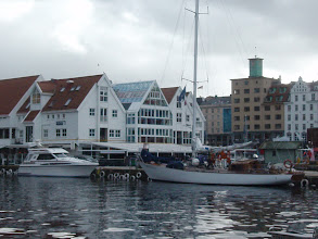 Photo: We arrived at the port of Bergen. It rained most of the time we were there. Our hotel (Radisson Blu) was right on the Bryggen (historic wharf).