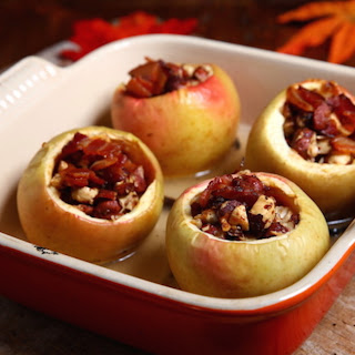 Baked Brie Stuffed Baked Apples With Nut Topping And Bacon