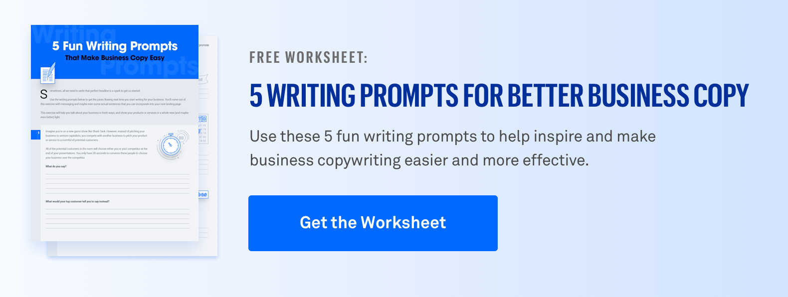 Get the 5 Fun Writing Prompts Worksheet