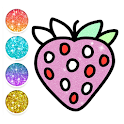 Fruit & vegetables Coloring Book For Kids Glitter icon