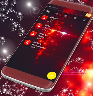 Red Sparkle SMS Theme - náhled