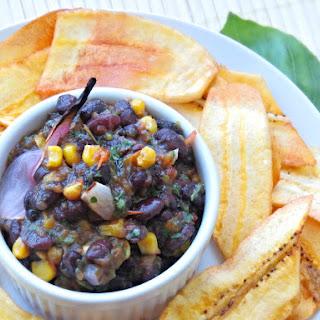 Crispy Fried Ripe Plantains with Black Bean Salsa
