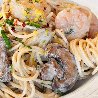 Creamy Shrimp and Mushroom Pasta.