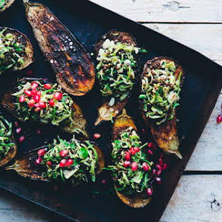 Baked Aubergine with Blanched Brussels Sprout & Beluga Salad.