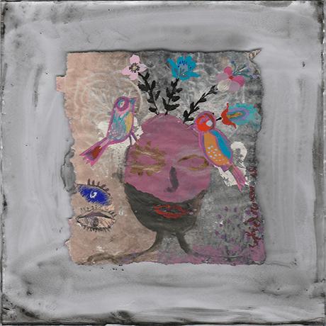des-lendemain-qui-chantent-peinture-acrylique-papier magazine  printemps renaissance-sophie-lormeau-art-singulier-figuratif-contemporain-portrait-imaginaire sourire jeune pousse souvenir artist emergent power flower fleur bleue birds oiseau