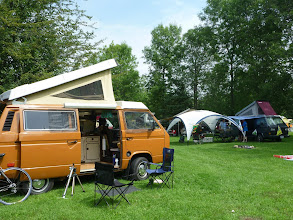 Photo: A first... camping at a VW camper event in a VW, much more fun than setting up a tent like I did at BusFusion. Sat. morning, already hot by 10am