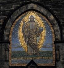"""Photo: Mosaik an der Markuskirche (erbaut 1901 - 1906) : """"Christus als Weltenherrscher"""" von Oscar Wichtendahl (1860 - 1933)"""