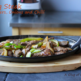 Sizzling Steak with Peppers Onions and Chilli.