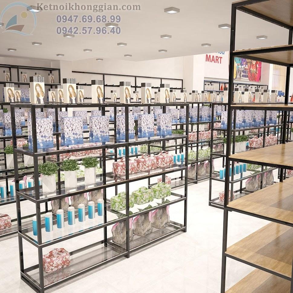 thiết kế siêu thị mini sức chưa lớn với nhiều kệ