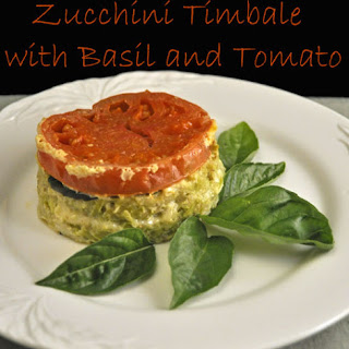 Zucchini Timbales with Basil and Tomato.