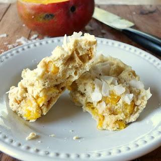 Mango Coconut Mug Cake (paleo, nut-free, fruit-sweetened).