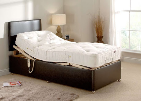 An adjustable bed in a bedroom