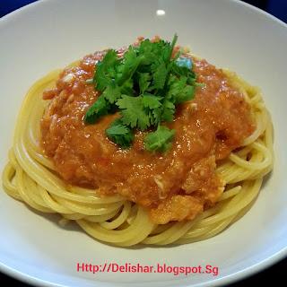Singapore Chilli Crab Cream Pasta