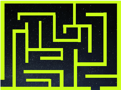neon green maze with a space background being displayed in scratch