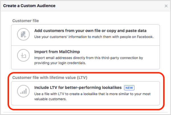 Facebook custom audience lifetime value